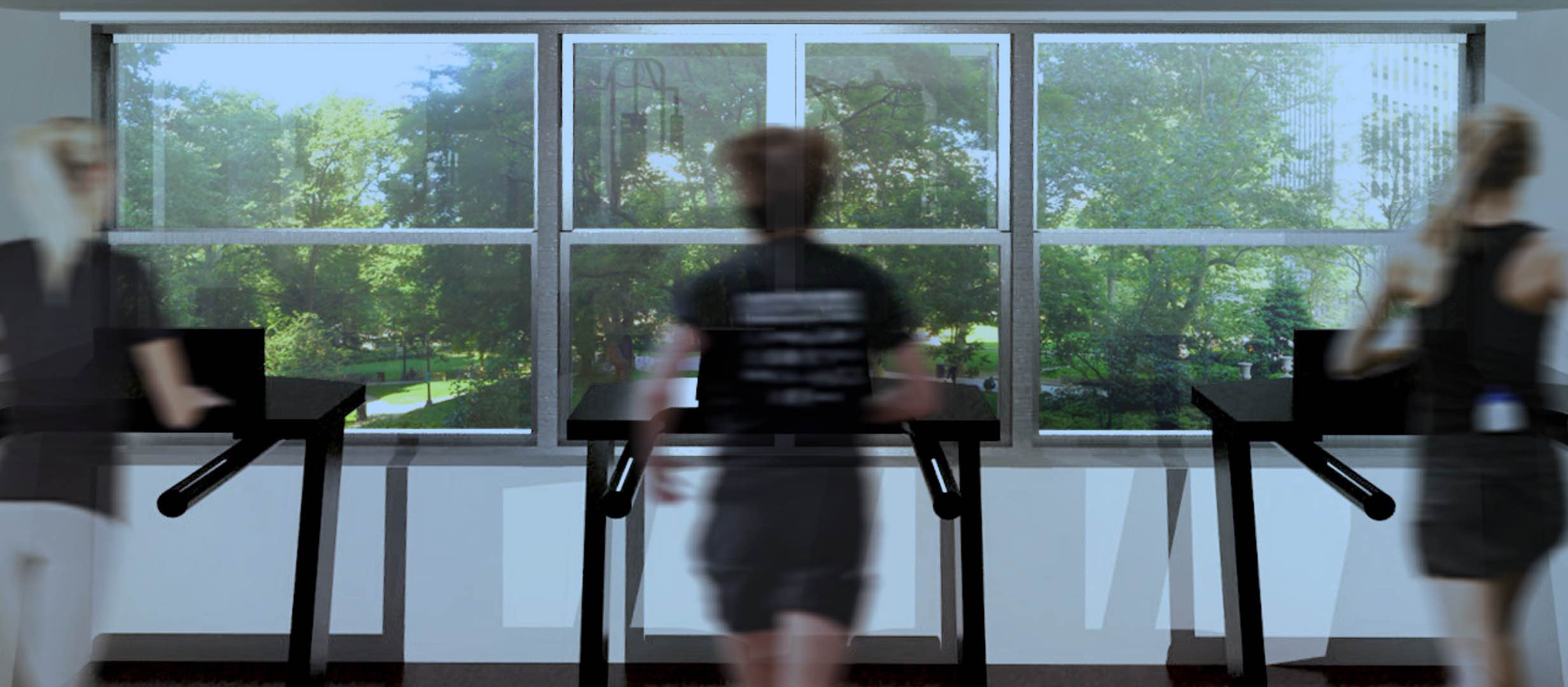 People running on treadmills in fitness center looking out glass windows