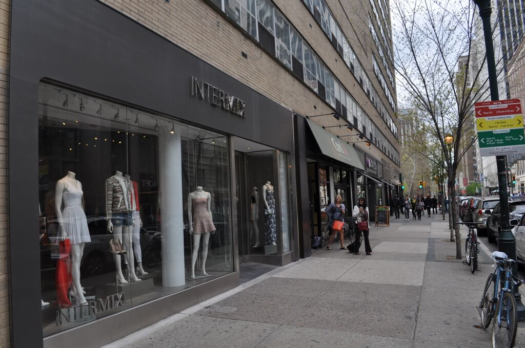 Window display of Intermix clothing store