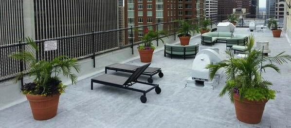Rooftop sundeck with lounge seating